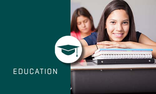 Education with Green box and Icon