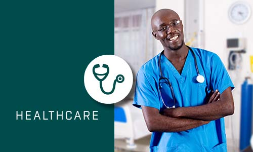 Healthcare with Green box and Icon