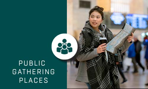 Public Gathering Places with Green box and Icon